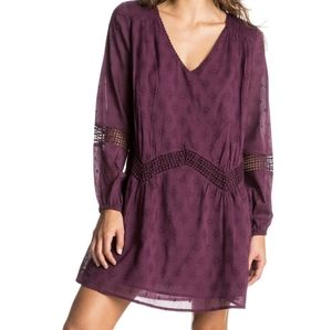 BNWT roxy cali stars long sleeve burgandy dress sm